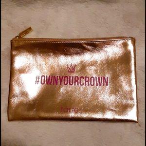 """EUC! Tarte """"Own Your Crown"""" gold & pink makeup bag"""